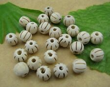 20pcs White wood beads pumpkin round Spacer 10MM