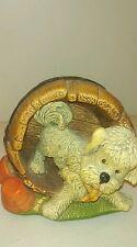 Naturecraft Home Wrecker Barrel Puppy figurine Hand Painted Stoneware England