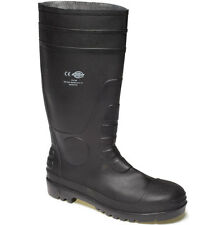 MENS DICKIES SUPER SAFETY WORK WELLIES SIZE UK 6 STEEL TOE WELLINGTONS FW13105