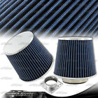 Blue Cotton Gauze 3 Inch Inlet Flat Top Cone Style Air Intake Filter + Adapter