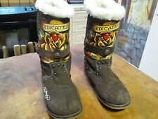 DEDICATED by Don Ed Hardy, Brown Suede Woman's Winter Boots Size 9