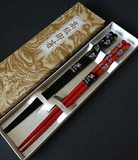 Set of 2 Pairs Japanese Wooden Lacquer Floral Chopsticks Hair Stick Gift Box Set
