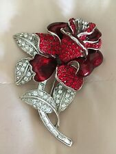 Vintage Nolan Miller Red Clear Crystal Rose Pin