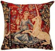 """LADY & UNICORN 5 SENSES SERIES, THE SIGHT 18"""" TAPESTRY CUSHION COVER WITH ZIP"""
