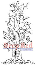 Deep Red Rubber Cling Stamp Scary Spooky Halloween Hollow Tree