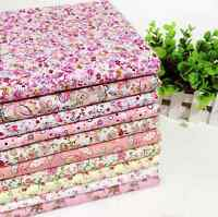 10 pieces BUNDLE pink COTTON FABRIC  FLORAL DOTS Joblot Mixed Craft Patchwork