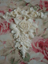 Large Bow Ribbon & Rose Floral Center Furniture Applique Architectural Pediment
