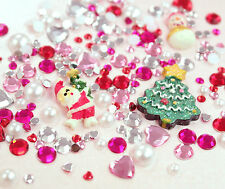 Small CHRISTMAS Flatback Rhinestones Pearl & Cabs Mix Set Decoden UK SELLER
