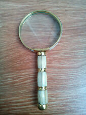 Antique Vintage Style Big Brass Magnifying Glass - Mother of Pearl magnifier
