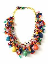 Vintage 1930/40 Glass Flower Fruit cha cha Necklace on Celluloid Plastic Chain