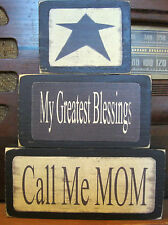 My Greatest Blessings Call Me Mom Primitive Stacking Blocks Wooden Sign Set