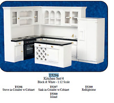 dollhouse miniature furniture kitchen set 1/12 scale new black white