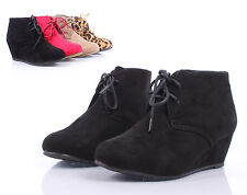 Black Lace Up Girls Wedge High Heels Kids Ankle Boots Youth Shoes Size 1