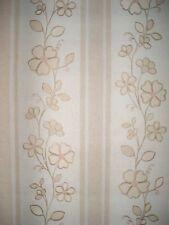 Wallpaper Vintage Shand Kydd Large Tan Floral Vertical Stripe  63353