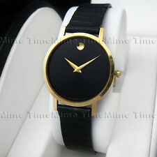 Men's Movado MUSEUM CLASSIC Black Dial Gold Case Leather Swiss Quartz Watch