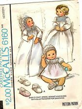 Vtg McCall's Pattern BABY CHRISTENING DRESS COAT BONNET 6160 Infant Size UNCUT