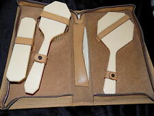 rare vintage art deco celluloid bakelite dressing table set pigskin leather case
