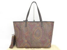 Auth ETRO Hand Tote Bag Leather Paisley With Pouch Free Ship 03130412800 M30FX