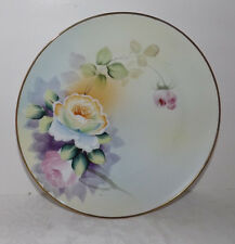 """Vintage MEIT0 China Handpainted 9"""" PLATE with Flowers Floral Scene Made in Japan"""