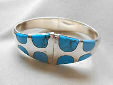 Vintage Mexico 950 Sterling Silver Inlaid Turquoise Clamp Bracelet   246815