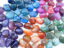 5 x ASSORTED COLOUR AGATE POLISHED 18mm - 25mm CRYSTAL * TUMBLESTONES * STONES