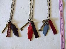 New Handmade Leather Feather Pendants & Keys Necklace Metal Chain 3 in a lot