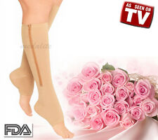 New Zippered Compression Knee Socks Leg Support Open Toe Stockings Beige Medium