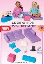 """LIVING ROOM SET Couch Sofa Bed Chair 18"""" American Girl My Life As Doll Furniture"""