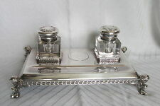 Antique Reed&Barton Silver Plate & Cut Glass Double Inkstand w/Ladies Heads Feet