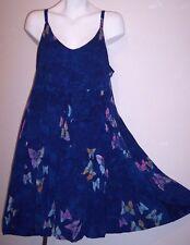Wax Bali Dress XL Flowy Rayon Batik Butterfly Boho Hippie Vacation Sundress XL