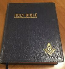Antique Large Masonic Bible Hardcover Bible Coffee Table Book Vintage