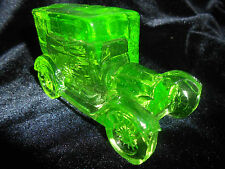 Green Vaseline glass Taxi antique Car sedan uranium candy container ford / glows