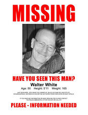 """Breaking Bad Walter White Missing Poster 11 X 14"""" Photo Print"""