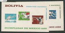 Bolivia 1969 Olympics 2 Souvenir Sheets Imperf MNH (2cpe)