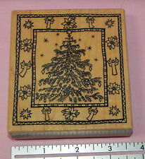 Rubber Stamp Wood Mount Christmas Tree with Border PSX K-3530
