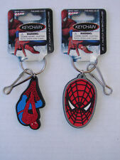 RARE PAIR OF SPIDERMAN KEY CHAIN Key Ring 2007 MOC RUBBER BY RAND MARVEL COMICS