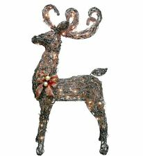 "48"" Glittering Grapevine Buck Lighted Reindeer Outdoor Christmas Decor Yard Art"