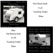 (2) Sets Of Teardrop Trailer Plans W/Instructions & Materials List. 5x8 & 5x10