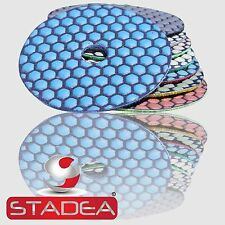 "Diamond Polishing Pads 4"" Dry Premium Set+Rubber Backer"
