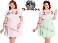 Hell Bunny Kyoto Mini Dress Fan Vintage Retro Rockabilly New Pink Mint PLUS SIZE