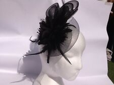 Ladies Fascinator Hat Black Veil, Bow & Feathers - Vintage Stunning - Brand New