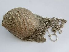 Vintage-Solid Silver Chain Mesh Chatelaine Bag- Good Size-Heavy Weight-c1930's
