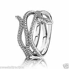 New Authentic Pandora 190954CZ Ring Silver Swirling Snake Sz 52 Box Included