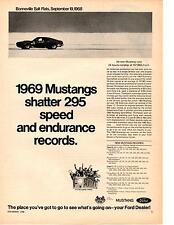 1969 FORD MUSTANG SPORTSROOF 302 AT BONNEVILLE / MICKEY THOMPSON ~ ORIGINAL AD