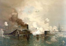 Civil War Prints: Monitor & Merrimac - The First Ironclad Battle: Fine Art Print