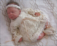 Baby Knitting Pattern 9 TO KNIT Niamh Girls Christening Dress Headband Booties