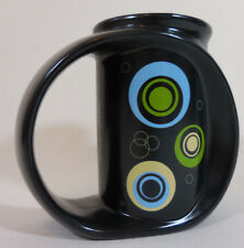 "Miam Miam Solar Slate Mug Chip Chipman Black Blue Mod Pop Art Blue Green 5"" Tall"