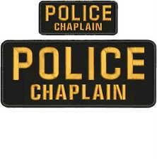 "POLICE CHAPLAIN Embroidery Patches 4 X 10"" and 2x5hook on back  gold"