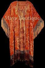 Orange Kimono Fringe Jacket Opera Coat Silk Burnout Velvet Maya Matazaro