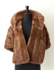 vtg BROWN MINK genuine FUR STOLE SHAWL WRAP cape jacket coat BRIDAL